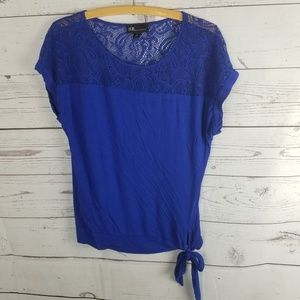 ⚡AGB Lace Tie Front Short Sleeve Blouse Blue Med